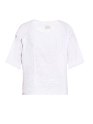 Aries Frayed Edge Cotton Muslin Top