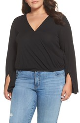Plus Size Bp. Ribbed Faux Wrap Top Black