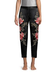 Josie Silk Embroidery Ankle Trousers Black