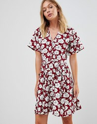 Trollied Dolly Boho Floral Skater Dress Red