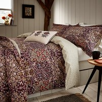 Morris And Co Blackthorn Bed Set Damson Purple