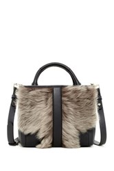 Luana Italy Athena Medium Genuine Shearling And Leather Tote Brown