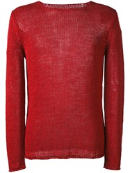 Roberto Collina Open Knit Sweater Men Linen Flax 46 Red