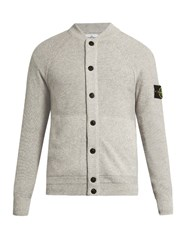 Stone Island Panelled Knit Cardigan Light Grey