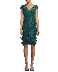 Marchesa V Neck Cocktail Dress W 3D Embroidery And Velvet Trim Emerald