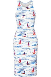 Flagpole Swim Kane Cutout Printed Neoprene Dress White Blue