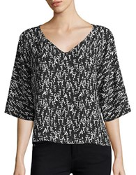 Paper Crown Gianna Three Quarter Sleeve V Neck Blouse Black White