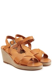 A.P.C. Leather Wedge Sandals