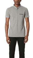 The Kooples Faux Leather Trim Polo Shirt Light Grey