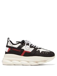 Versace Chain Reaction Mesh And Suede Trainers Black Multi