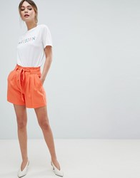 Oasis Belted Tailored Shorts Red Orange