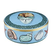 Richard Ginori 1735 'Il Viaggio Di Nettuno' Shell Crown Round Trinket Box Sea Blue