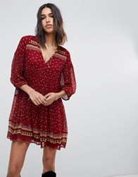 Baandsh Printed Smock Mini Dress Red