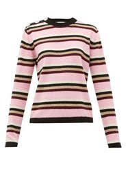Ganni Crystal Button Cashmere Sweater Pink Multi