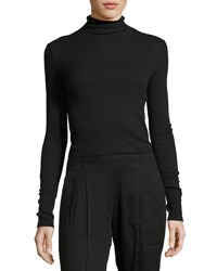 Vince Long Sleeve Ribbed Turtleneck Sweater Black