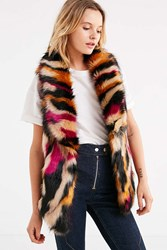 Urban Outfitters Faux Fur Collared Multicolored Vest Neutral Multi