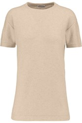 Brunello Cucinelli Embellished Cashmere Blend Top Beige