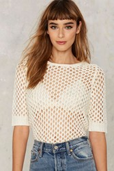 Caught In The Act Sheer Sweater White