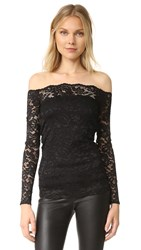 L'agence Heidi Off Shoulder Lace Top Black