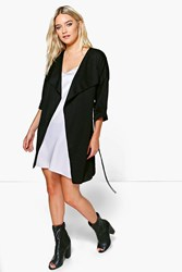 Boohoo Lexi Waterfall Rucked Back Belted Duster Black