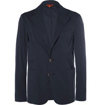 Barena Blue Unstructured Cotton Blazer Navy