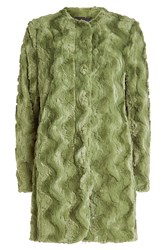Steffen Schraut Faux Fur Coat With Printed Lining Green