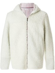Thom Browne Center Back Deerskin Stripe Dyed Shearling Hooded Jacket White