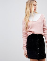 Girls On Film Ribbed Slouchy Jumper Pink