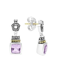 Lagos 18K Gold And Sterling Silver Glacier Drop Earrings With Rose De France Amethyst Lavender Silver