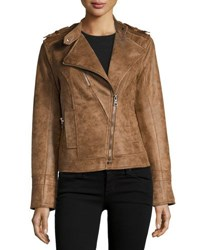 Raison D'etre Vegan Suede Asymmetric Zip Moto Jacket Earth
