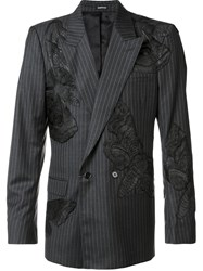 Alexander Mcqueen Moth Appliqued Pin Striped Blazer Grey