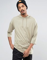 Asos Oversized T Shirt With 3 4 Sleeve And Hood Beige