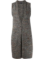 Theory Long Sleeveless Cardigan Grey