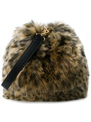 Simone Rocha Leopard Faux Fur Handbag Beige Leopard Black Brown White