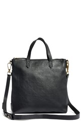 Madewell Small Transport Leather Crossbody Tote Black True Black