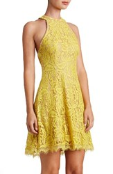 Dress The Population Women's Angie Halter Sunflower Lace