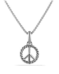 David Yurman Cable Collectibles Peace Sign Charm Silver
