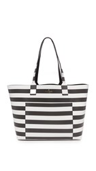 Kate Spade Posey Tote Black Cream Stripe