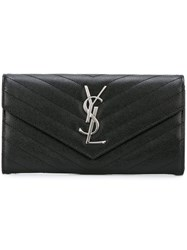 Saint Laurent Large 'Monogram' Flap Wallet Black