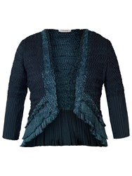 Chesca Pleat Lace And Satin Shrug Ink