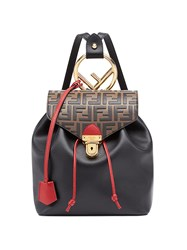 Fendi Logo Contrast Backpack Black