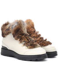 Woolrich Fur Trimmed Leather Ankle Boots White