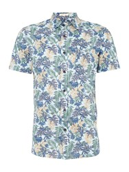 Howick Men's Artemisa Floral Print Short Sleeve Shirt Blue