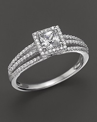 Bloomingdale's Princess Cut Diamond Centerstone Ring In 18 Kt. White Gold 0.75 Ct. T.W. No Color