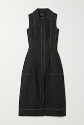 Akris Topstitched Denim Midi Dress Black