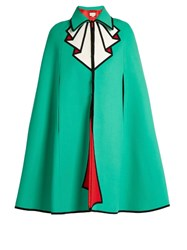Gucci Trompe L'oeil Wool Cape Green