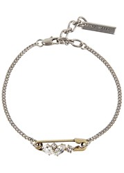 Marc Jacobs Crystal Embellished Safety Pin Bracelet Gold