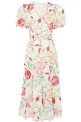 Andrew Gn Belted Floral Print Silk Crepe Midi Dress White