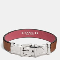 Coach Wide Two Tone Leather Buckle Bracelet Silver Saddle Peony