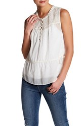 Jessica Simpson Sleeveless Metallic Dot Blouse White